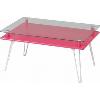ディスプレイテーブル ホワイト/ピンク/ブラック(ローテーブル)