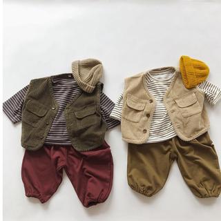 ベスト コーデュロイ 韓国子供服(ニット/セーター)