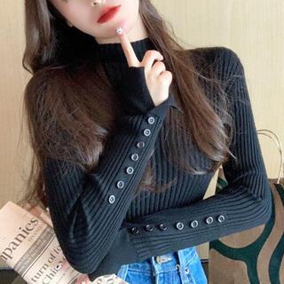 snidel - 袖カットタートルネックセーター(ブラック)