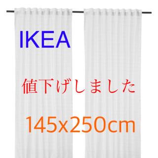 イケア(IKEA)の イケア IKEA シアーカーテン 1組 ホワイト ストライプ【新品 未使用】(カーテン)