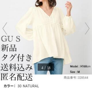 GU - (489) 新品 GU S ボリュームスリーブティアードブラウス(長袖)