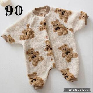 韓国こども服 新作新品 クマさんモコモコロンパース(ロンパース)