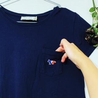 MAISON KITSUNE' - メゾンキツネ ワッペン付きポケットTシャツ ネイビー