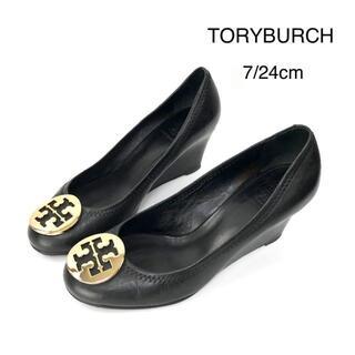 Tory Burch - TORY BURCH トリーバーチ ウェッジ パンプス 黒 Tロゴ 7 24cm