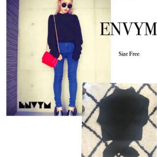 アンビー(ENVYM)のENVYMアンビー ハイネックロングスリーブニット セーター 黒 ブラック(ニット/セーター)