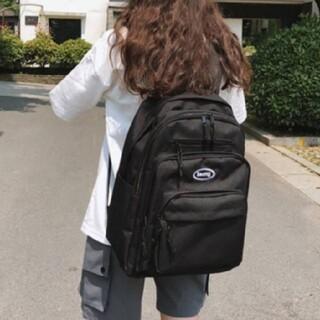 韓国 ジップポケット スクエア バックパック リュック 鞄 学生 マザーズバッグ(リュック/バックパック)