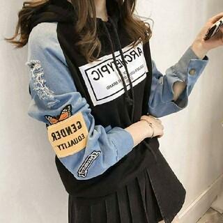 オルチャン デニムパーカー 韓国ファッション 人気パーカー ブラック
