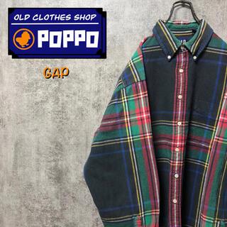 GAP - オールドギャップGAP☆レトロワークタータンチェックシャツ 90s