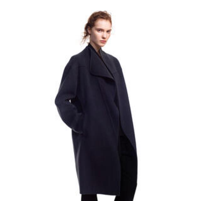 UNIQLO(ユニクロ)の+j  ユニクロ ジルサンダー カシミアブレンド ノーカラーコート S ブラック レディースのジャケット/アウター(ロングコート)の商品写真