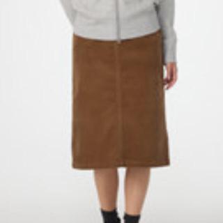 MUJI (無印良品) - オーガニックコットン混ストレッチコーデュロイスカート 婦人L・キャメル