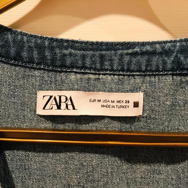 ZARA(ザラ)のZARA フリルデニムドレス レディースのワンピース(ひざ丈ワンピース)の商品写真