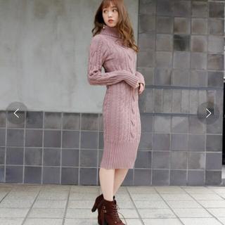 LIP SERVICE - LIP SERVICE♡2way lengthタートルニットワンピース ピンク