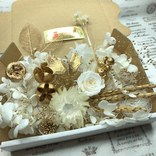 ゴールド&ホワイトローズ*花材詰め合わせ(プリザーブドフラワー)