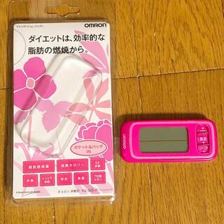 オムロン(OMRON)のオムロンOMRON歩数計7日間メモリHJ-305-Pパッションピンク(ウォーキング)