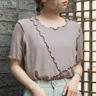 ティップトップ(tip top)のシアー配色メローカットソー/Tシャツ/グレイッシュベージュ/新品(Tシャツ(半袖/袖なし))