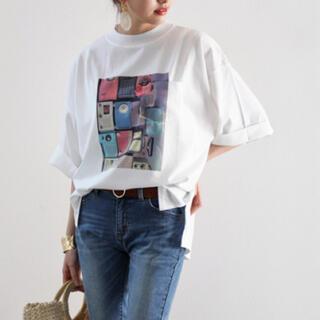 JEANASIS - ポケット付き半端袖 前面プリントアートフォトT・クルーネックビッグTシャツ/新品
