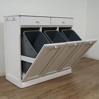 アウトレット 天板タイル ダストボックス ゴミ箱  3連 25L×3(キッチン収納)