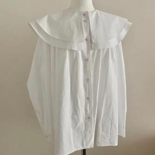 二重襟 フリルブラウス ピータパン襟シャツ  白長袖シャツ ZARA GU 韓国