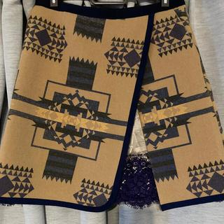 サカイ(sacai)のsacai luck ネイティブナバホ柄ウールミディスカートミニスカート(ひざ丈スカート)