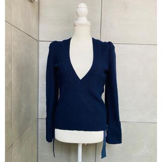 サカイ(sacai)のsacai  ネイビーデザインセーター 36(ニット/セーター)