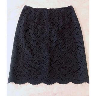 ユナイテッドアローズ(UNITED ARROWS)の美品 ユナイテッドアローズ レースタイトスカート ネイビー 紺 S スカート(ひざ丈スカート)