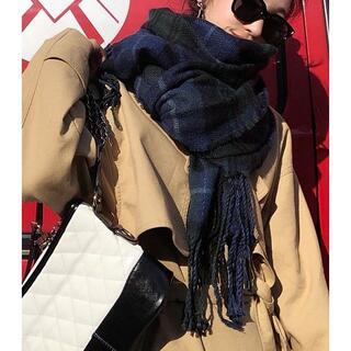 """カシミア100%英国""""New19FW☆Tartan-check""""インディコブルー(ストール/パシュミナ)"""