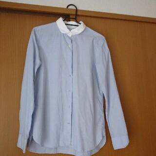 MUJI (無印良品) - 無印良品 オーガニックコットンブロード丸襟シャツ M サックスブルー