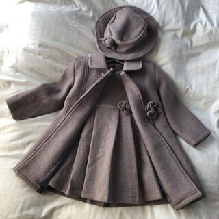 Bonpoint - 【着画あり】フランス製子ども服 ワンピースとコート、お帽子のセット 秋冬