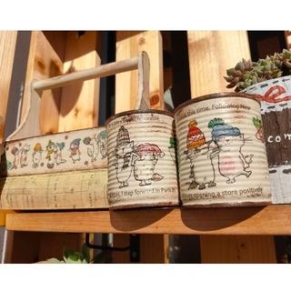 ゲリラお値下げ17日まで おかもち型木箱&リメイク缶2個の3点セット♪ (その他)
