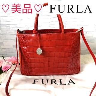 Furla - 正規品♡ 美品♡ フルラ FURLA 2wayハンドバッグ クロコ柄 赤 214