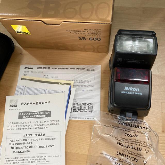 Nikon(ニコン)の新品同様 ニコン スピードライト SB -600 一式 ストロボ スマホ/家電/カメラのカメラ(ストロボ/照明)の商品写真