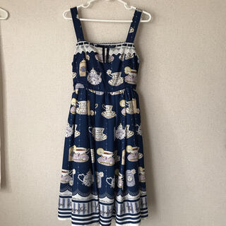 axes femme - アクシーズ ティーカップ柄ジャンパースカート
