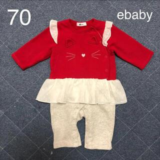 ベベ(BeBe)の【美品】ebaby カバーオール ロンパース ねこ 70(カバーオール)