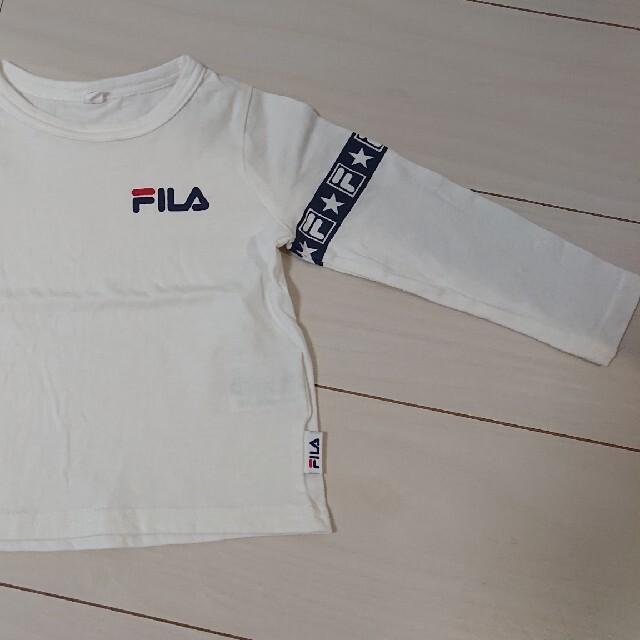 FILA(フィラ)のFILA 白ロンT キッズ キッズ/ベビー/マタニティのベビー服(~85cm)(Tシャツ)の商品写真