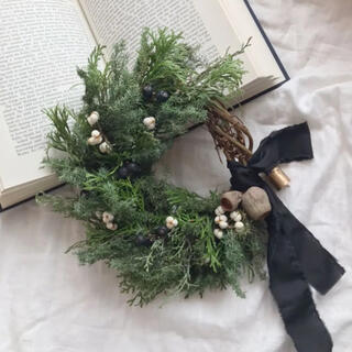 ユーカリベルガムのクリスマス お正月 リース ドライフラワー 26cm(リース)