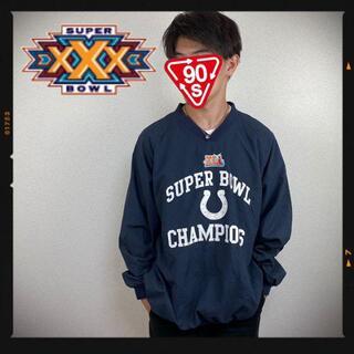 チャンピオン(Champion)のNFL 90s スーパーボウル ナイロンジャケット プルオーバー 古着 刺繍(ナイロンジャケット)