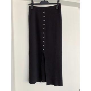 SCOT CLUB - スコットクラブ Aga フロントボタン リブタイトスカート ブラック 美品