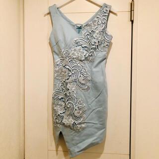 レース付きタイトドレス ライトブルー