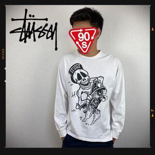 ステューシー(STUSSY)のオールドステューシー 90s STUSSY 長袖 ドクロ スケボー ホワイト(Tシャツ/カットソー(七分/長袖))