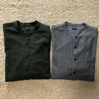 UNIQLO - 美品フランネルスタンドカラーシャツ2点セット