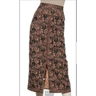 Lily Brown - リリーブラウン フラワー刺繍ロングタイトスカート