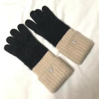 CHANEL - 超美品 CHANEL ココマーク カシミヤ 手袋 グローブ バイカラー シャネル