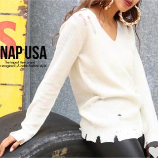 アナップ(ANAP)のANAP USA♡    Vネックダメージニットトップス (ニット/セーター)