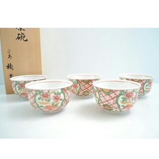 タチキチ(たち吉)の【未使用品】たち吉 赤絵 湯呑み茶碗 5客セット 木箱入り 和食器(食器)