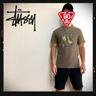 ステューシー(STUSSY)のオールドステューシー 90s STUSSY USA ロゴTシャツ カーキ 迷彩(Tシャツ/カットソー(半袖/袖なし))