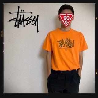 ステューシー(STUSSY)の90s オールドステューシー STUSSY USA ロゴT マスタード 古着(Tシャツ/カットソー(半袖/袖なし))