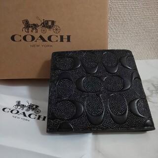 COACH - コーチ COACH 2つ折り財布メンズ 札入れ シグネイチャー型ブラック財布新品