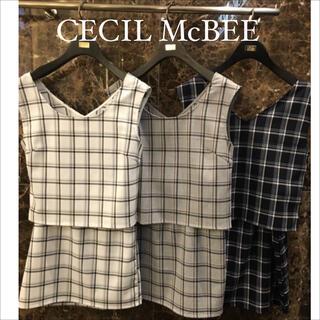 セシルマクビー(CECIL McBEE)のCECIL Mc BEE チェック柄 セットアップ スカート♡dazzlin(セット/コーデ)
