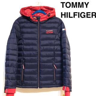 トミーヒルフィガー(TOMMY HILFIGER)のトミー ヒルフィガー 新品ロゴ パーカー ネイビーダウンジャケット ダウンコート(ダウンジャケット)