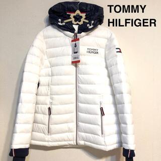 トミーヒルフィガー(TOMMY HILFIGER)のトミー ヒルフィガー 新品ロゴ パーカー ホワイトダウンジャケット ダウンコート(ダウンジャケット)